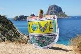 Mycha Ibiza – roundie – rond strandlaken – love – lime – 100% katoen – franje