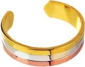 C., T. - Magneet Armband of Ring - Serie - Driekleurig - Zilverkleurig, Goudkleurig & Rosékleurig