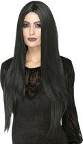 Lange zwarte hittebestendige pruik voor vrouwen - Verkleedpruik