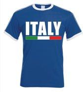 Blauw Italie supporter ringer t-shirt met witte randjes heren - Italiaanse vlag shirts S