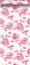 krijtverf vliesbehang aquarel geschilderde rozen roze - 128016 ESTAhome.nl