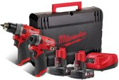Milwaukee M12 FPP2A-602X 12V Li-Ion accu Klopboor-/schroefmachine (M12 FPD) & Slagschroevendraaier (M12 FID) Combiset (2x 6,0Ah accu) in HD Box