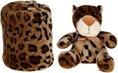 Pluche panter met fleece deken