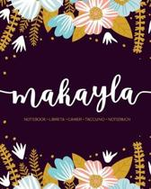 Makayla: Notebook - Libreta - Cahier - Taccuino - Notizbuch: 110 pages paginas seiten pagine: Modern Florals First Name Noteboo