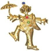 Broche clown met paraplu metaal goudkleurig