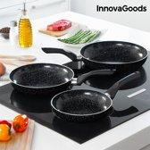 InnovaGoods Kitchen Cookware Pannenset met Coating met Steeneffect (3 stuks)
