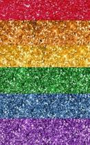 Regenbogen: Glitzer Notizbuch, LGBT Flagge Glitzerlook Buch, marmorierte Seiten zum Selbstgestalten