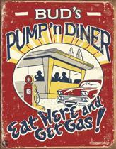 Signs-USA Pump 'n Diner - Retro Wandbord - Metaal - 40x30 cm