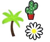 Strijk embleem 'Palmboom, cactus en bloem patch set (3)' – stof & strijk applicatie