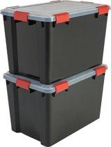IRIS Airtight Opbergbox - 70 l - 2 stuks - Zwart/Rood