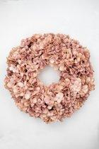 Viv! Home Luxuries Hortensia krans - zijde - zalm roze - herfst - 46cm - topkwaliteit
