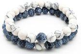 Armband heren – kralen – dubbel snoer – wit en blauw marmer - Sorprese - natuursteen – rond - elastisch – 20 cm - model F