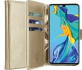 iCall - Huawei P30 Hoesje - Lederen TPU Book Case Portemonnee Flip Wallet - Goud