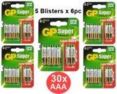 30 Stuks - GP Super Alkaline AAA LR03/1.5V Batterij