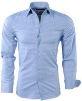 Montazinni - Heren Overhemd - Geruit - Slim Fit - Blauw