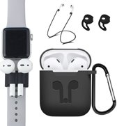 5 in 1 siliconen hoesje met Anti-lost strap en houder - Earhooks - Haak - Zwart Case - geschikt voor Apple Airpods