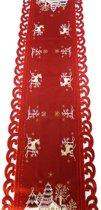 Kerstkleed - Rood met hert - Loper 170 cm