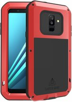 Metalen fullbody hoes voor Samsung Galaxy A6 Plus (2018) / A6+ (2018), Love Mei, metalen extreme protection case, zwart-rood