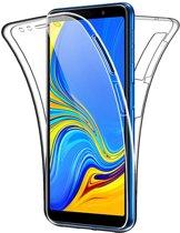 Samsung Galaxy A7 (2018) Hoesje Siliconen TPU + Screenprotector Transparant voor Volledige 360 Graden Bescherming - Gel Case van iCall