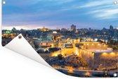 De eeuwenoude stad Jeruzalem bij schemering in Israël Tuinposter 60x40 cm - klein - Tuindoek / Buitencanvas / Schilderijen voor buiten (tuin decoratie)