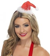 Mini glitter hoed Kertsvrouw voor dames - Verkleedhoofddeksel
