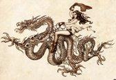 Fotobehang Dragon Tattoo | XXL - 312cm x 219cm | 130g/m2 Vlies