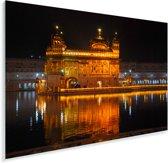 De Gouden Tempel prachtig verlicht in de avond Plexiglas 90x60 cm - Foto print op Glas (Plexiglas wanddecoratie)