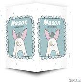 Geboortebord stoer konijn | raambord geboorte | raamdecoratie geboorte | grijnss.nl
