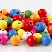 Houten kralen mix, d: 10 mm, kleuren assorti, 500 gr