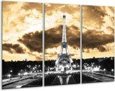 Glasschilderij Eiffeltoren | Grijs, Bruin, Zwart | 120x80cm 3Luik | Foto print op Glas |  F003008