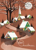 Snow Topped Houses Beneath the Moon Christmas Greeting Cards [With Envelope]