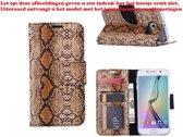 Xssive Hoesje voor Samsung Galaxy S5 G900 of S5 Neo G903 Boek Hoesje Book Case Slangen Print Licht Bruin