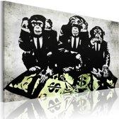 Schilderij - Banksy - Geld is een probleem II, Zwart/Wit/Groen, 1luik