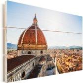 Koepel van de Dom van Florence in Italië Vurenhout met planken 90x60 cm - Foto print op Hout (Wanddecoratie)