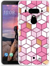 HTC U12 Plus Hoesje Pink-gold-white Marble