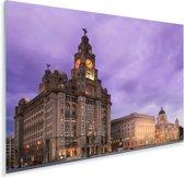 Het centrum van het Engelse Liverpool met een paarse hemel Plexiglas 180x120 cm - Foto print op Glas (Plexiglas wanddecoratie) XXL / Groot formaat!