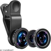 MobielCo Fisheye Lens + Macro Lens + 0.67x Wide Lens voor telefoon (iPhone, Samsung, etc) met Clip