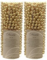 Kerstslingers kralen goud 10 meter 2 stuks - Guirlande kralenslingers - Gouden kerstboom versieringen