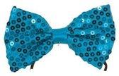 Blauw vlinderstrikje met pailletten