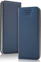 Luxe Smart Magnet luxe book case, extra sterke business uitvoering, maat M. Wallet book hoesje in extra luxe TPU leren uitvoering, business kwaliteit, blauw , merk i12Cover