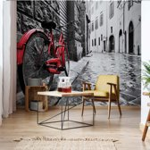 Fotobehang Black And White Red Bicycle Old Street | VEXXXL - 416cm x 254cm | 130gr/m2 Vlies
