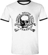 Uncharted 4 - Skull Ringer Mannen T-Shirt - Wit - S
