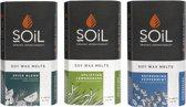 Soil - Assorti Wax Melts - 32 Aroma Wax Tabletten - Lavendel - Citroengras - Pepermunt - Spice Blend - Laat Het Naar Thuis Ruiken - Gratis Aroma Brander