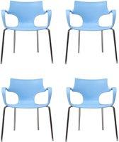 24Designs Set 4 Stoelen Jim - Armleuningen - Lichtblauw