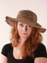 Dames hoed - gestreept - bruin - beige - tijdloos model