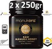 MANUKA HONING (MGO ≥ 829 =) UMF® 20+ 500gr (= 2 x 250gr) / MANUKORA