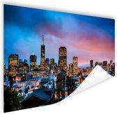 Skyline bij nacht Poster 90x60 cm - Foto print op Poster (wanddecoratie)