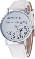 Fako Bijoux® - Horloge - Whatever, I'm Late Anyway - Wit