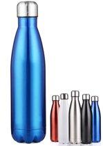 Thermosfles Drinkfles Waterfles RVS 500ML Koud en Warm Hoge Kwaliteit - Blauw
