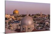 Uitzicht op Jeruzalem en de Heilig Grafkerk in Israël Aluminium 180x120 cm - Foto print op Aluminium (metaal wanddecoratie) XXL / Groot formaat!
